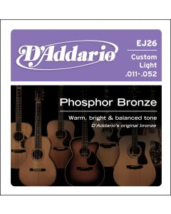 D'Addario EJ26 Phosphor Bronze, Custom Light 11-52 Acoustic Strings