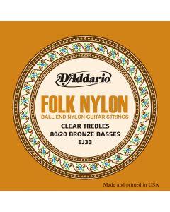 EJ33 Folk Nylon, Ball End, 80/20 Bronze/Clear Nylon Trebles