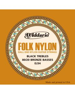EJ34 Folk Nylon, Ball End, 80/20 Bronze/Black Nylon Trebles