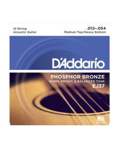 D'Addario EJ37 12-String Medium Top/Heavy Bottom, 12-54 Acoustic Strings