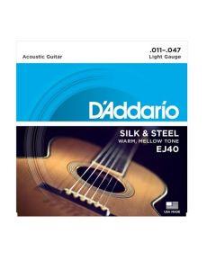 D'Addario EJ40 Silk & Steel Folk Guitar Strings 11 - 47