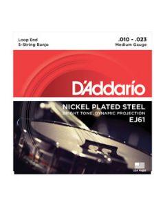D'Addario EJ61 5-String Banjo Strings Nickel Medium