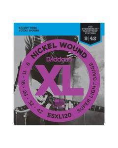 D'Addario ESXL120 Nickel Wound, Super Light, Double Ball End, 9-42