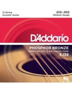 D'Addario EJ39 12-String Phosphor Bronze, Medium, 12-52