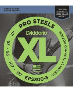 D'Addario EPS300-5 ProSteels 5-String Bass 43-127 Tapered Long Scale