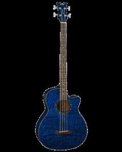 Dean Exotica Quilt Ash A/E Bass, Trans Blue