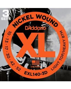 D'Addario EXL140-3D 3 Pack Nickel Wound, Light Top/Heavy Bottom, 10-52
