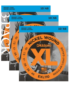 EXL110 Nickel Wound 3 Pack, Regular Light, 10-46