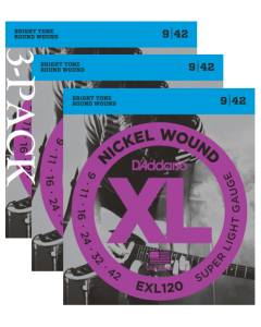 EXL120 Nickel Wound 3 Pack, Super Light, 9-42
