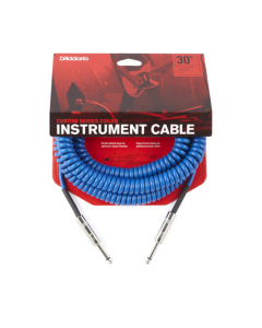 D'Addario Coiled 30' Instrument Cable - Blue