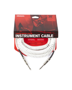 D'Addario Coiled 30' Instrument Cable - White