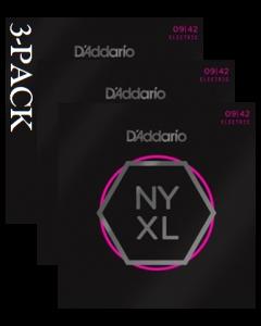 D'Addario NYXL0942 3-Pack Super Lite 9 Nickel Wound