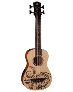 Luna Bass Tattoo Spruce Ukulele w/Preamp & Gig Bag